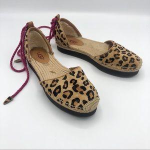 UGG Leopard Calf Hair Libbi Ankle Tie Espadrille